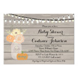 Rustic Floral Orange Yellow Boy Baby Shower Invite