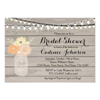 Rustic Floral Orange Yellow Bridal Shower Invite