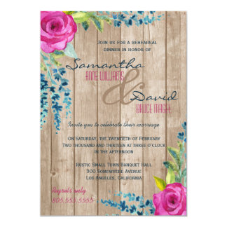 Rustic Floral Painted Wood Rehearsal Dinner Invite
