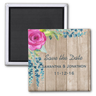 Rustic Floral Painted Wood Wedding Save the Date Magnet
