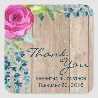Rustic Floral Painted Wood Wedding Thank You Square Sticker