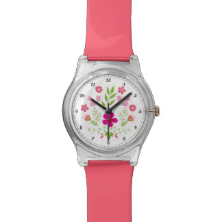 Rustic Floral Pattern with Pink Flowers Wrist Watch