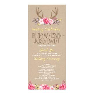Rustic Floral Peony & Deer Antler Wedding Programs