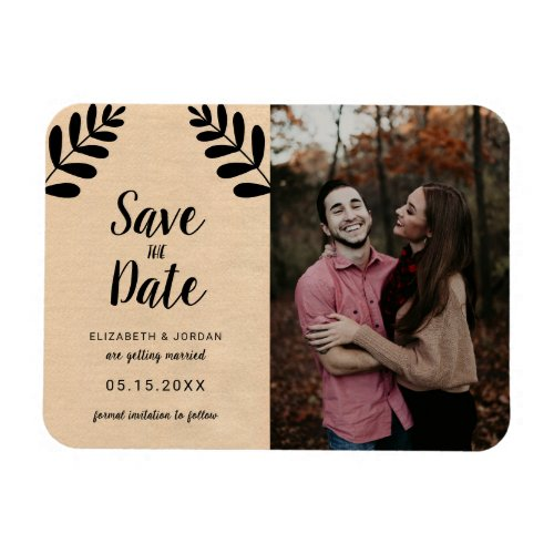 Rustic Floral Photo Save the Date Lettering Chic Magnet