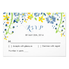 Rustic Floral | R S V P Reply Card Navy Yellow