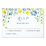 Rustic Floral | R S V P Reply Card Navy Yellow Announcement