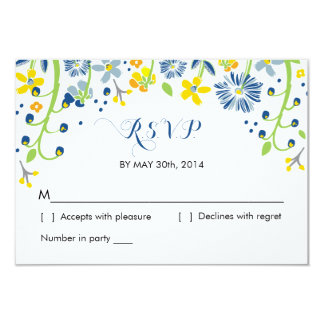 Rustic Floral   R S V P Reply Card Navy Yellow Announcement