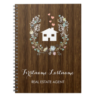 Rustic Floral Real Estate Agent Notebook