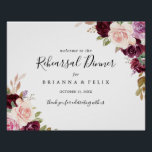 """Rustic Floral Rehearsal Dinner Welcome Sign<br><div class=""""desc"""">This rustic floral rehearsal dinner rehearsal dinner welcome sign is perfect for a modern wedding rehearsal. The design features beautiful and colorful hand-drawn flowers and foliage,  elegantly arranged into attractive bouquets.</div>"""