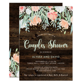 Rustic Floral Romance | Couples Shower Card