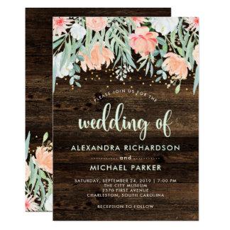 Rustic Floral Romance | Watercolor Wedding Card