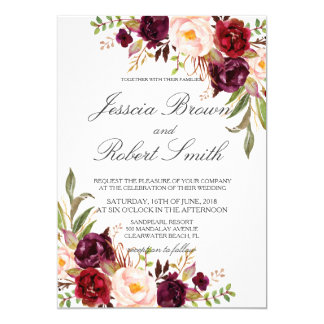 Rustic Floral, Rustic Wedding Card