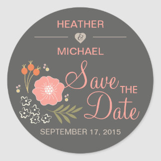 Rustic Floral Save the Date Classic Round Sticker