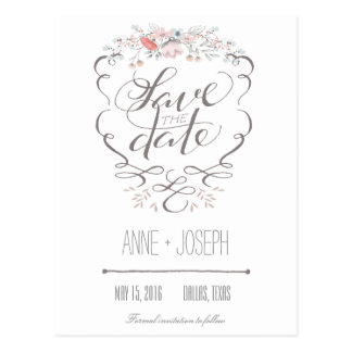 Rustic Floral Save the Date III Postcard
