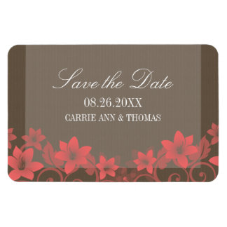 Rustic Floral Save the Date Magnet, Red