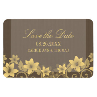 Rustic Floral Save the Date Magnet, Yellow