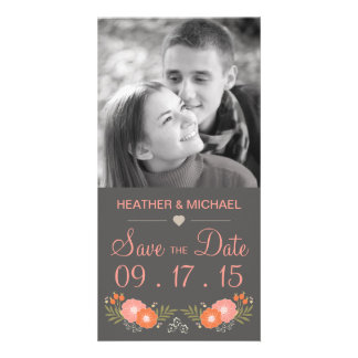 Rustic Floral Save the Date Custom Photo Card