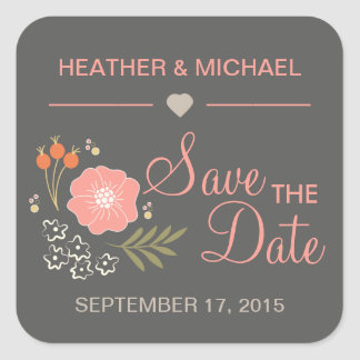 Rustic Floral Save the Date Sticker