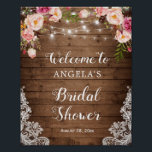 "Rustic Floral String Light Lace Bridal Shower Sign<br><div class=""desc"">Rustic Floral String Light Lace Bridal Shower Welcome Sign Poster. (1) The default size is 8 x 10 inches, you can change it to other size. (2) For further customization, please click the ""customize further"" link and use our design tool to modify this template. (3) If you need help or...</div>"