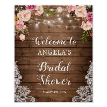 Rustic Floral String Light Lace Bridal Shower Sign