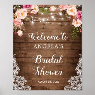 Rustic Floral String Light Lace Bridal Shower Sign