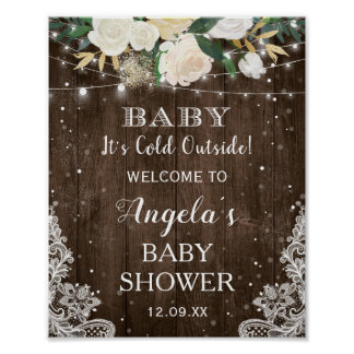 Rustic Floral String Lights Baby Its Cold Outside Poster