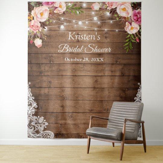 rustic floral string lights bridal shower backdrop