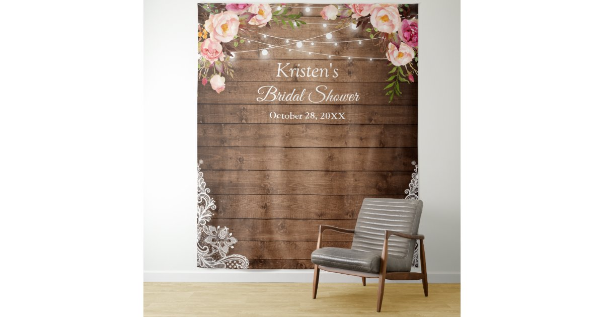 Rustic Floral String Lights Bridal Shower Backdrop Zazzle Com