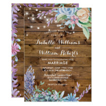 Rustic Floral String Lights Hearts Country Wedding Card