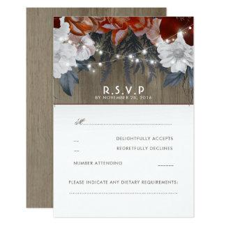 Rustic Floral String Lights Wedding RSVP Cards