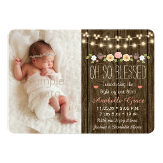 Rustic Floral String of Lights Birth Announcements