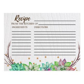Rustic Floral Succulent Bridal Shower Recipe Cards