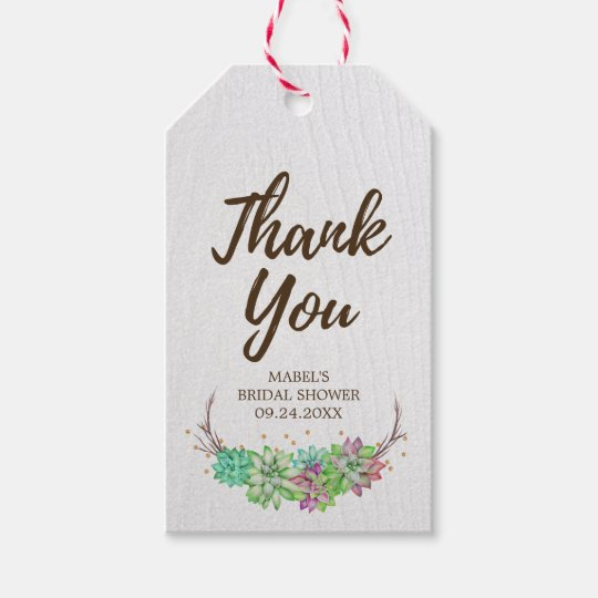 rustic floral succulent bridal shower thank you gift tags