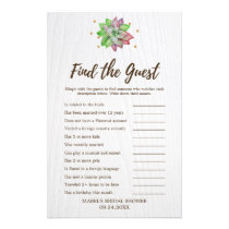 Rustic Floral Succulent Find the Guest Game Flyer