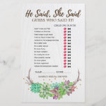 """Rustic Floral Succulent Wedding Word Search Game<br><div class=""""desc"""">This rustic floral succulent wedding word search game is perfect for a rustic country or desert theme bridal shower. The front of the game card features &quot;he said she said&quot; which is a fun quiz about the bride and groom. The back of the card features a word find with wedding...</div>"""