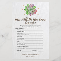 "Rustic Floral Succulent ""Whats In Your Purse"" Game"