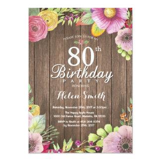 Rustic Floral Surprise 80th Birthday Invitation