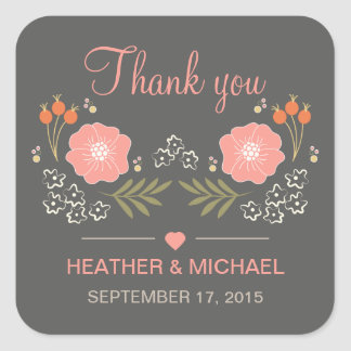 Rustic Floral Thank You Square Sticker