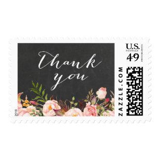 Rustic Floral Vintage Chalkboard Thank You Stamp