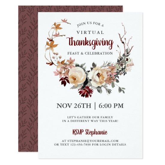 Rustic Floral Virtual Thanksgiving Dinner Invitation