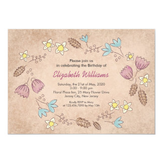 Rustic Floral Watercolor Birthday Invitation