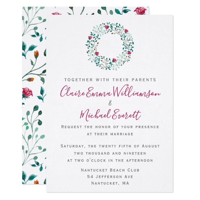 Rustic Floral Watercolor Foliage Pattern | Wedding