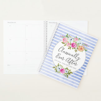Rustic Floral Watercolor Modern Stripe Shabby Chic Planner