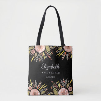 Rustic Floral Wedding Blush Roses Bridesmaids Tote Bag