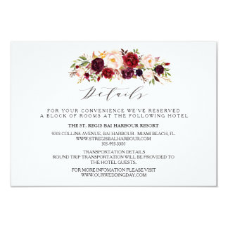 Rustic Floral Wedding Info/Details 2-Sided-3 Card
