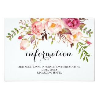 Rustic Floral Wedding Information/Details 2-Side Card