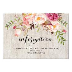 Rustic Floral Wedding Information/details 2-side Card at Zazzle