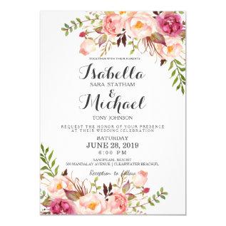 Rustic Floral Wedding Invitation at Zazzle