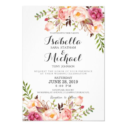 Rustic Floral Wedding Invitation Zazzlecom