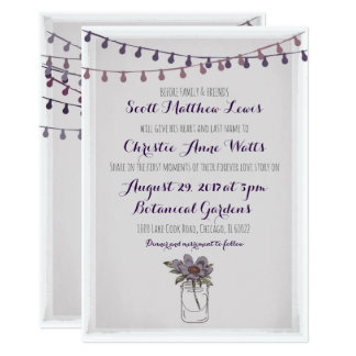 Rustic Floral Wedding Invitation lavender fawn